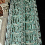Bronze door from 1185AD with 42 inticate carvings