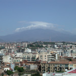Catanian rooftops set against Mt Etna, 45km away