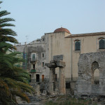 The ruined Temple of Apollo in the center of Ortygia