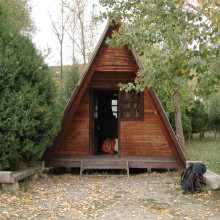 A cosy wooden tent for the night