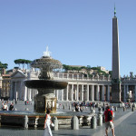 St. Peter's Square and obelisk, as the sun starts to set over the Vatican City