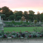 Sunset glow over the Chateau gardens