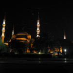 BIrds roosting in the luminous glow of Sultan Ahmed Mosque