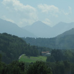 Driving towards the Austrian Alps (big hills in the background)
