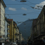 Approaching Salzburg, trolleybus cables overhead