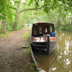 Our 62ft barge with dents @ along the Llangollen Canal in North Wales, UK