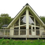 Scandinavian wood and glass lodge, with sauna @ Linlithgow, West Lothian, Scotland, UK