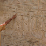 Edfu temple, a lesson in hieroglyphics near Aswan, Egypt