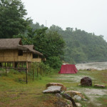 The bamboo hut we slept in next to the ever rising river @ Privi Highway on the way to Pokhara, Nepal