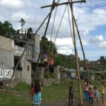One of the many swings erected outside villages as part of Dasai celebration