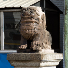 Protective lions guard the entrance