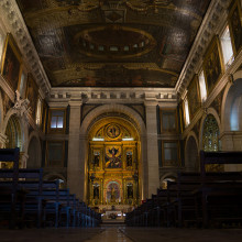 The richly decorated nave of Sao Roque