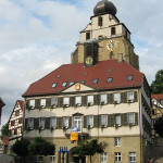 Herrenberg town hall (Rathaus) in front of the historical Stiftskirche